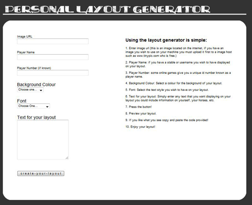 Personal Layout Generator